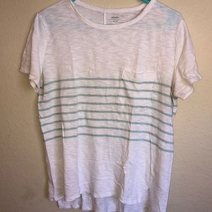 White and blue-striped t-shirt